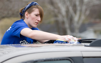 Washing a car on NIU Cares Day