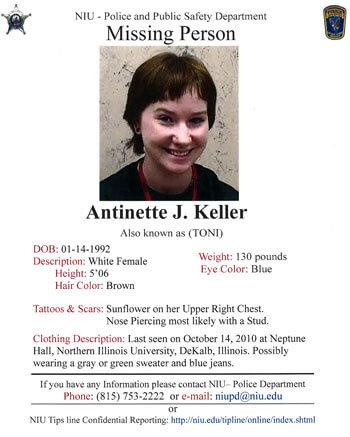 Missing Person poster for Toni Keller