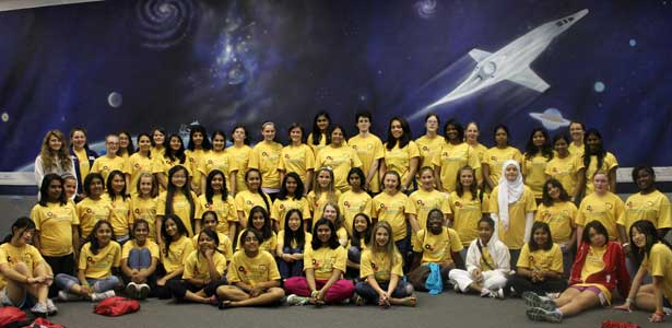 Girls attend an NIU-Enhancing Engineering Pathways event.