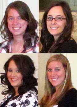 Clockwise from top left: Kristi Kelzer, Kassandra Clanton, Randa Hamadeh and Kelsie Guehler