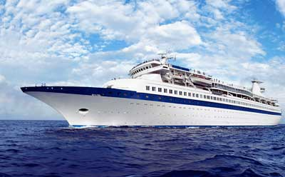 Photo of a cruise ship at sea