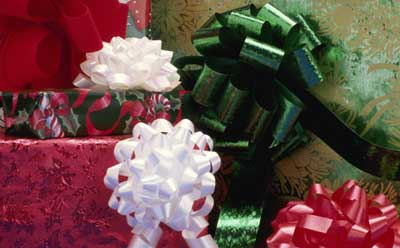 A photo of wrapped Christmas presents