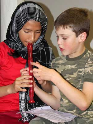 A lesson on the recorder.