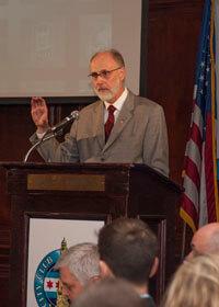 NIU President Doug Baker addresses the City Club of Chicago Feb. 20, 2014