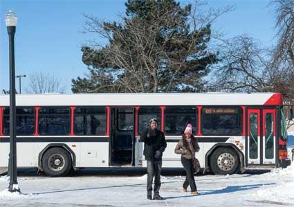 A Huskie Bus in winter