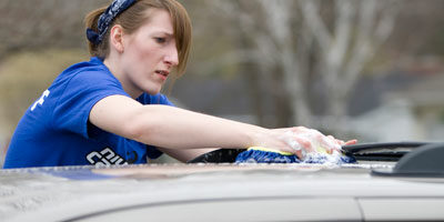 Washing a car on NIU Cares Day