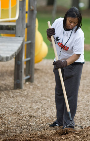 Raking on NIU Cares Day