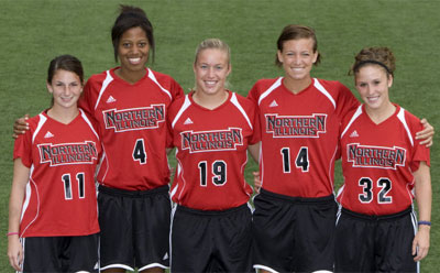 Seniors of the Huskie women's soccer team. From left: Annie Wyer, Christen Schuler, Kaitlin Bujak, Kylie Revelle and Mo Smunt.