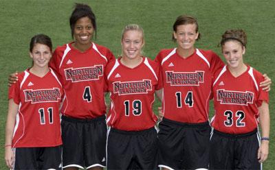 Seniors of the Huskie women's soccer team