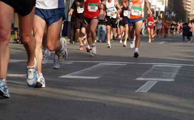 Photo of feet in a race