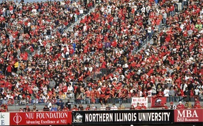 Huskies fans pack the stands for the Homecoming game.