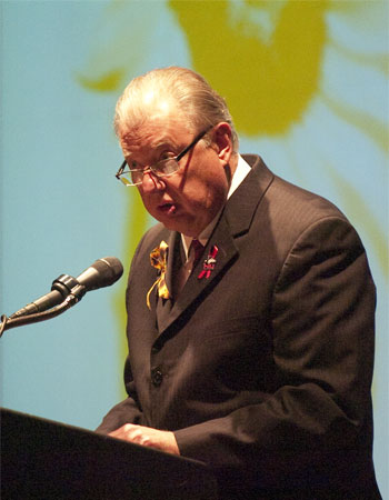 President Peters speaks at the Oct. 26 community gathering