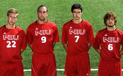Huskies men's soccer seniors (from left) Engebreth Faerden, Juan Hoyos, Luis Mojica and Kyle Knotek