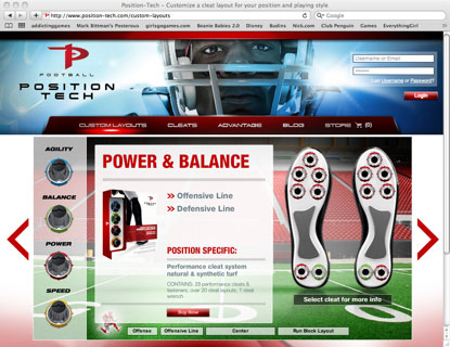 Screen capture of Position Tech webpage