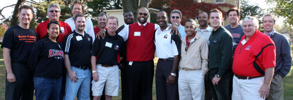 Brian O. Hemphill (center) and Student Association President Erik Calmeyer (green jacket, front row, near right) welcome former SA presidents back to campus Saturday, Oct. 9.