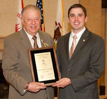 NIU President John G. Peters and Dan Grant, director of the Illinois Department of Veterans' Affairs