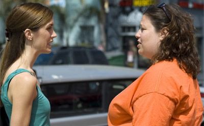 "Staci Lawrence (left) as Darcy and Deidra Edwards as Lydia in ""Disfigured."" Photo courtesy Dialogue Heavy Pictures."