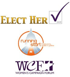 Logos of Elect Her, Running Start and Women's Campaign Forum