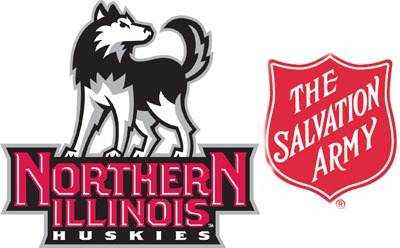 Logos of the NIU Huskies and the Salvation Army