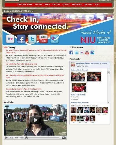 Screen capture of NIU's SMASHUP homepage