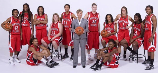 Kathi Bennett and the NIU women's basketball team