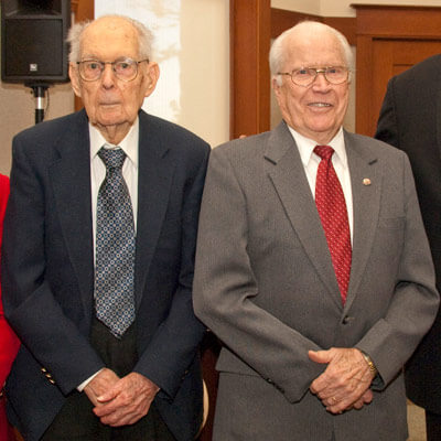 Francis Stroup (left) and longtime colleague and friend J. Hubert Dunn visited Altgeld Hall in September.