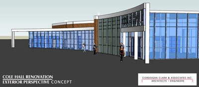 Cole Hall exterior (architect's rendering)