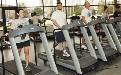 Photo of people exercising on Rec Center treadmills