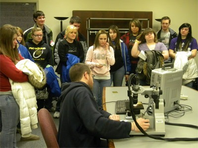 High school students enjoy an Engineers Week demonstration Tuesday, Feb. 22, at NIU's Engineering Building.