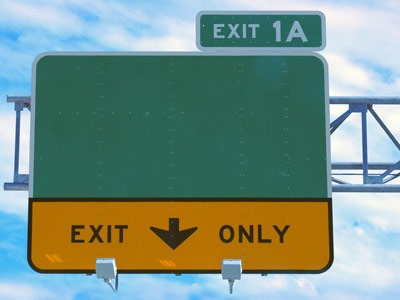 "Photo of ""Exit Only"" road sign"
