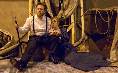 """Clay Blackwell and Charlotte Fox, MFA in acting candidates, appear as Captain Ahab and Pip in Orson Welles' """"Moby Dick Rehearsed."""""""