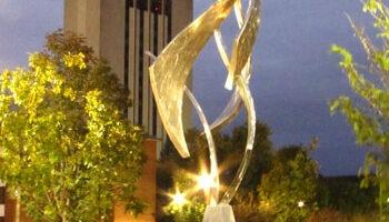 """Bruce Niemi's """"Remembered"""" sculpture in the Memorial Garden"""
