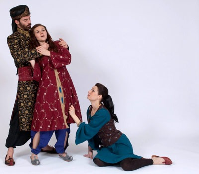 """School of Theatre and Dance MFA in acting candidates Nick Ferrucci (as Persian King Shahyar), Kendra Holton Helton (as Scheherezade) and Christie Maturo (as Dunyazade) appear in the upcoming production of Mary Zimmerman's """"The Arabian Nights."""""""