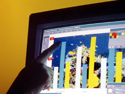 Photo of research data on computer screen