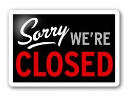 """Photo of """"Sorry We're Closed"""" sign"""