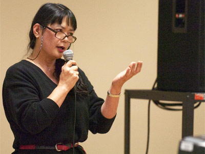Takako Day speaks Tuesday afternoon during NIU's teach-in on the Japanese disaster.