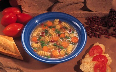 Photo of soup, breads and tomatoes
