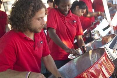 Members of the NIU Steelband perform in August at the Huskies SEE DeKalb event.