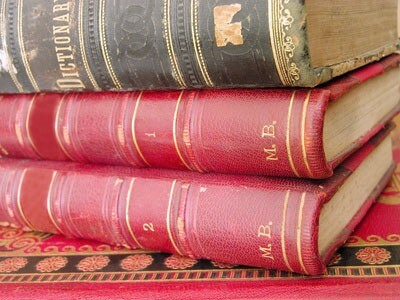 Photo of a stack of old books