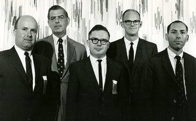 Among the 1966-67 Department of History faculty were (left to right) Jim Connors, Roland Ely, Reese Jenkins, Jerry Barrier and Stephen Foster.