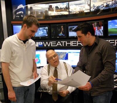NIU interns Phillip Jagielo (left) and Adam Turchioe with WGN-TV's Tom Skilling.