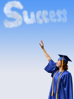 "Photo of college graduate reaching toward the word ""Success"" written in the clouds"