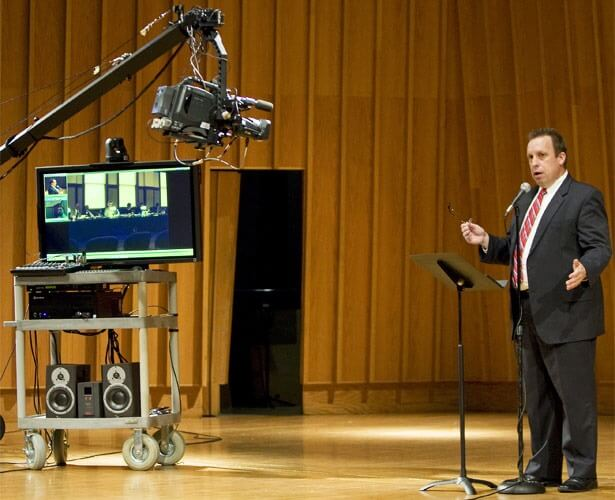 Paul Bauer, director of the NIU School of Music, speaks to an Internet2 audience about the school's use of that technology.