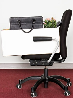 Photo of a moving box on an office chair