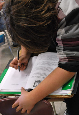 A DeKalb High School student prepares for exams.