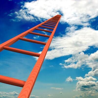 Photo illustration of climbing the career ladder