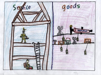 Jaisnav R., a first-grader at White Eagle Elementary School in Naperville, was a 2011 state winner for this poster illustrating services and goods.