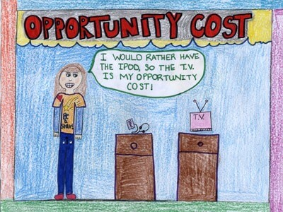 Brooke R., a fifth-grader at St. Jacob Elementary School in St. Jacob, was a state winner for her illustration of opportunity cost.