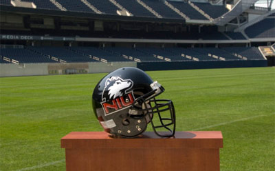 Photo of an NIU Huskie football helmet at Soldier Field