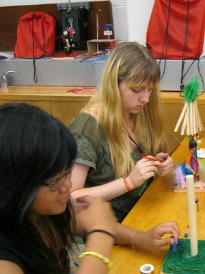 Students in the STEM track built kinetic sculptures to demonstrate principles of balance, energy transfer and motion.